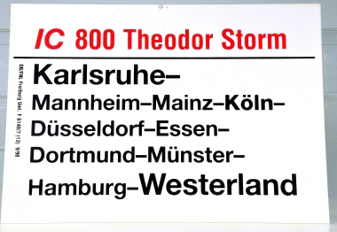 Zuglaufschild IC 800 Theodor Storm: Karlsruhe – Westerland