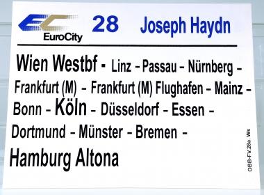 Zuglaufschild EuroCity 28 Joseph Haydn: Wien Westbf – Hamburg Altona (28a)