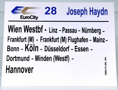 Zuglaufschild EuroCity 28 Joseph Haydn: Wien Westbf – Hannover (28b)