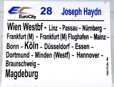 Zuglaufschild EuroCity 28 Joseph Haydn: Wien Westbf – Magdeburg (28c)