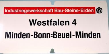 Zuglaufschild Industriegewerkschaft Bau-Steine-Erden: Westfalen 4 Minden