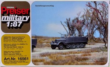 Preiser 16561 (H0) - Bausatz Halbkettenzugmaschine 3 to, offenes Verdeck