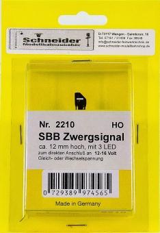 Schneider 2210 - Zwergsignal der SBB, Höhe 12 mm, 3 LEDs