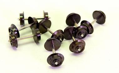 H0, 8 Stück 3-Leiter/Wechselstrom Radsatz 9,0 mm x 24,75 mm, dunkel