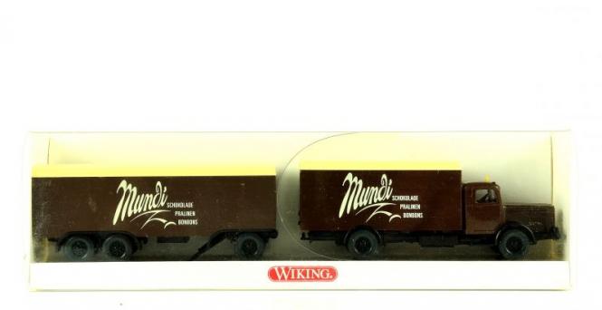 Wiking 8860229 (1:87) – Koffer Lastzug Büssing 8000 Mundi Schokolade