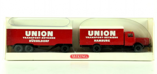 Wiking 8860430 (1:87) – Büssing 8000 Koffer Lastzug UNION Transport