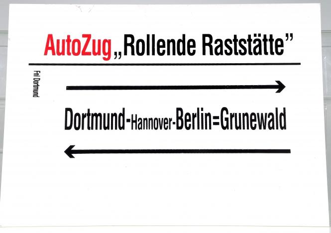 Zugschlaufschild DB AutoZug Rollende Raststätte