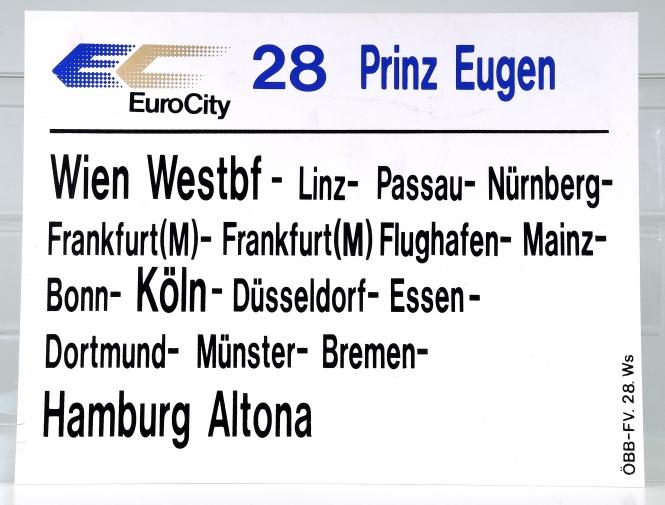 Zuglaufschild EuroCity 28 Prinz Eugen: Wien Westbf – Hamburg Altona