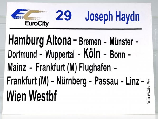 Zuglaufschild EuroCity 29 Joseph Haydn: Hamburg Altona - Wien Westbf (29a)