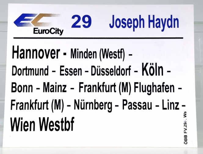 Zuglaufschild EuroCity 29 Joseph Haydn: Hannover - Wien Westbf (29b)