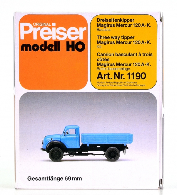 Preiser 1190 – Bausatz Dreiseitenkipper Magirus Mercur 120A-K