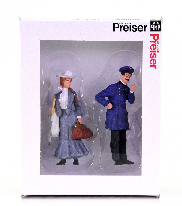Preiser 45065 (Spur II/1:22,5) – Schaffner und Dame, Set mit 2 Figuren