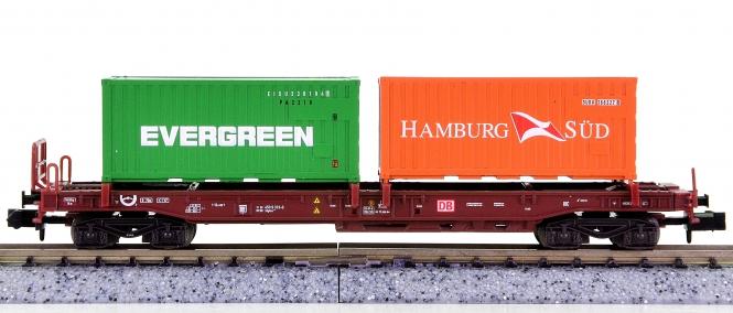 Trix 15265-06 (N) – Taschenwagen Sdgkms 707 der DB AG, mit 2 Containern beladen
