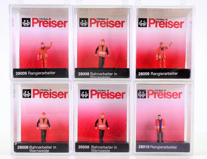 Preiser 28008, 28009, 28010 (H0) – 6er-Set Bahn-/Rangierarbeiter