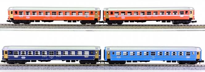 Trix (N) – 4-tlg. Personenwagen-Set der SBB und ÖBB