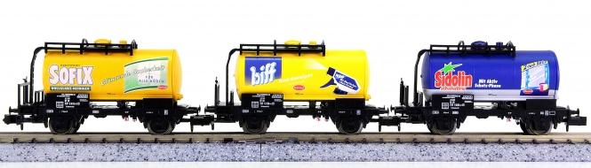 Trix 15235 (N) – 3-teiliges Kesselwagen-Set Henkel, eingestellt bei der DB