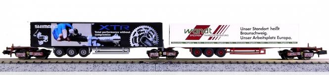 Trix 13492 (N) - Wagenset Kombirail mit Auflieger Shimano und Wandt
