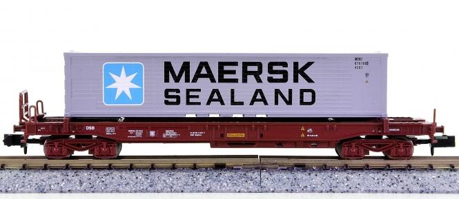 Trix 15636 (N) – Taschenwagen der DSB, mit Maersk-Container beladen