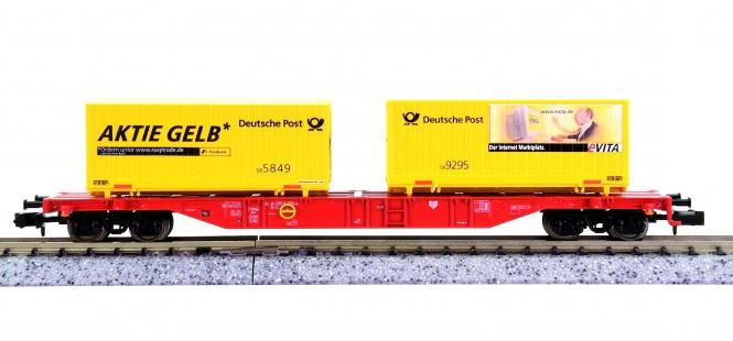 Trix 15255 (N) - Container-Tragwagen der DB AG, mit 2 Containern beladen