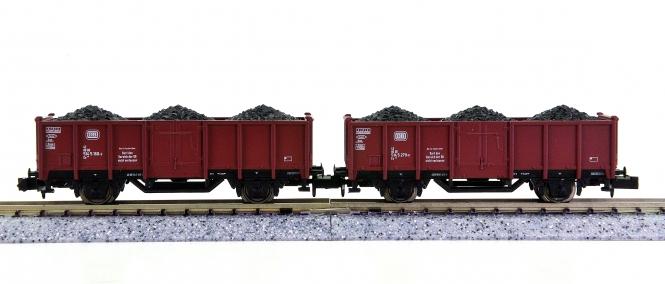 Trix 15041-17/-18 (N) – 2 Hochbordwagen Eo 019 der DB, beladen