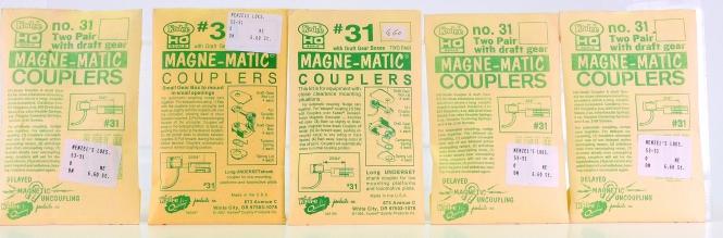 Kadee #31 - 5x 30-Series Couplers Long Underse, 2 pair