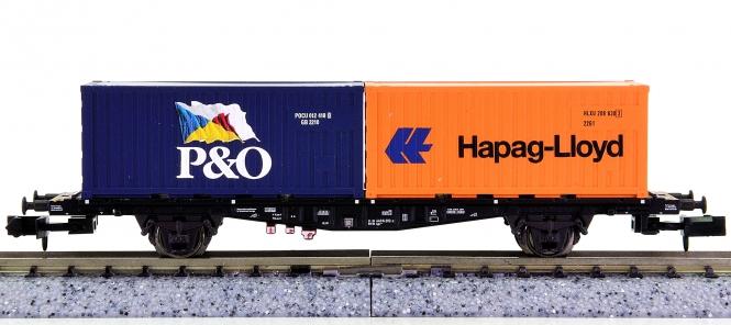 Trix 15289-10 (N) - Container-Tragwagen Lgjs 598 der DB AG, beladen