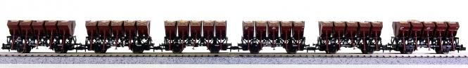 Roco 25186 (N) - 6-teiliges Muldenkippwagen-Set, mit Echtschotter beladen