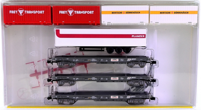 Trix 15045 (N) - 3-teiliges Taschenwagen-Set der HUPAC, eingest. bei der SBB