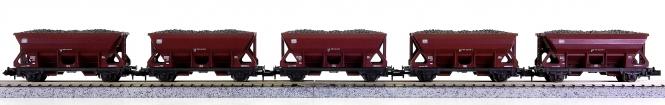 Roco 25031 (N) – 5 Selbstentladewagen der DB, beladen