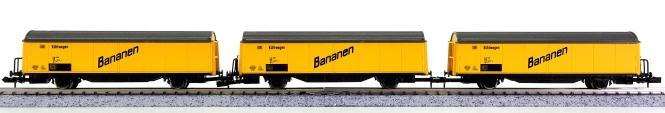 Roco (N) – 3-teiliges Kühlwagen-Set Bananen der DB