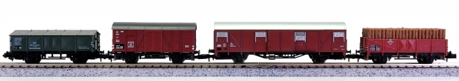 Arnold 4241/4410/4429/4471 – 4-teiliges Güterwagen-Set der DB
