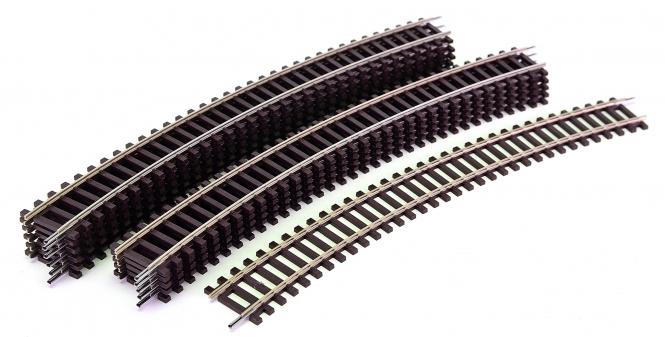Roco 42424 – 12x Roco-Line gebogene Gleise R4, r = 481,2 mm, 30°