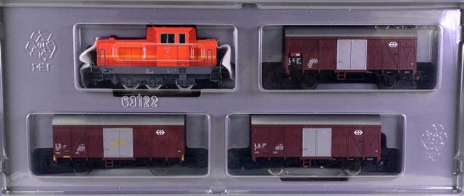 Märklin 2847 – 4-teiliger Nebenbahn-Güterzug der Schweiz, mit Rangierlok Em 3/3