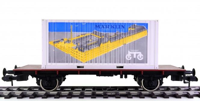 Märklin 5411 (Spur 1) – Containertragwagen, mit Märklin-Container beladen
