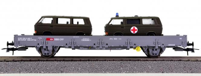 Roco 67484 – Rungenwagen der SBB, mit 2 VW T3 beladen