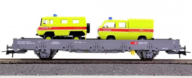 Roco 66791 – Rungenwagen der SBB, mit 2 Feuerwehr-Fahrzeugen beladen