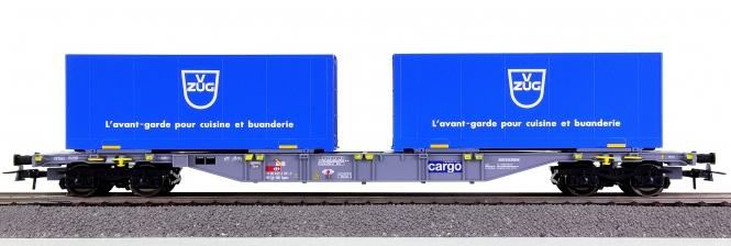 Roco 67443 - Containertragwagen der SBB, mit 2 VZUG-Containern beladen