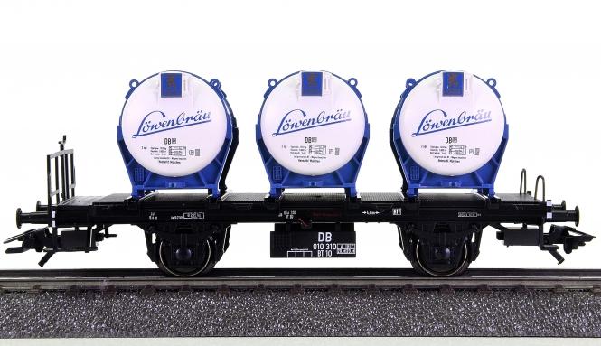 Märklin 00751-24 – Behälter-Tragwagen Löwenbräu der DB