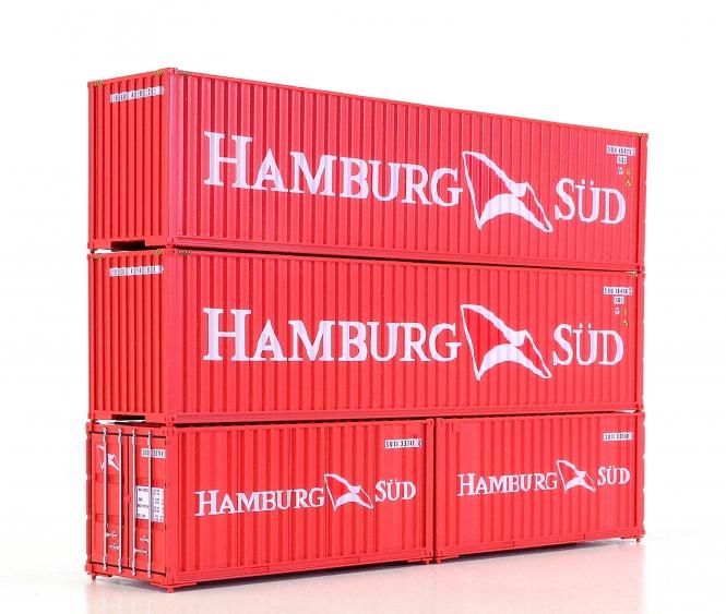 Walthers (H0) – zwei 40-ft- und zwei 20-ft-Container der Hamburg Süd
