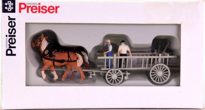 Preiser 30436 – Leiterwagen mit 2 Pferden und 2 Landwirten
