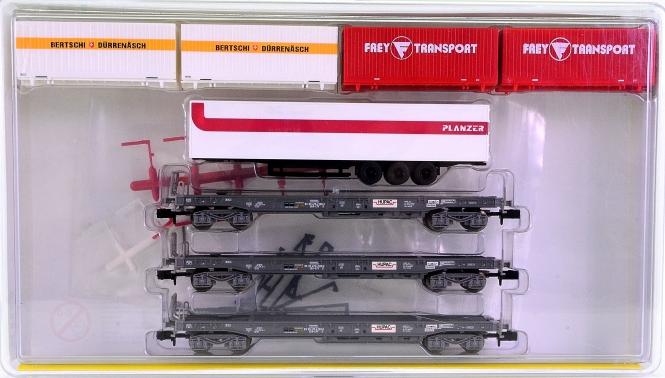 Minitrix 15045 - 3-teiliges Taschenwagen-Set HUPAC, eingest. bei der SBB