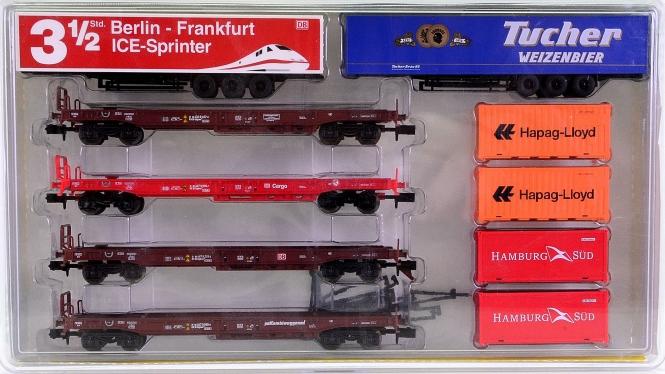 Minitrix 15043 – 4-teiliges Taschenwagen-Set der DB AG, beladen
