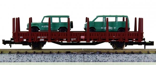 Roco 25939 (N) – Rungenwagen der DB, mit 2 Fahrzeugen 'Schwarzbau' beladen