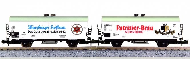 Minitrix – 2-teiliges Kühlwagen/Bierwagen-Set, Würzburger und Patrizier