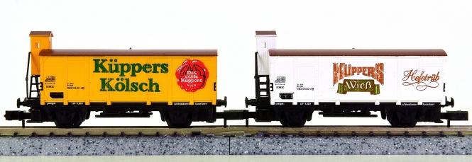 Arnold 0136 – 2-teiliges Kühlwagenset, Küppers Kölsch und Küppers Wieß