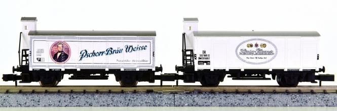 Arnold 4263,4279 – 2 Kühlwagen/Bierwagen, Pschorr und König Pilsener