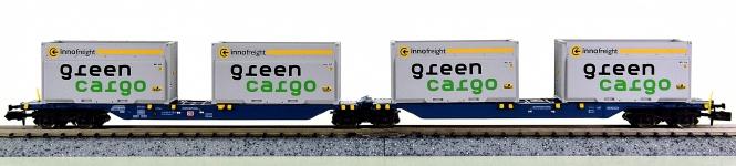 Hobbytrain H23718-3 (N) – Containertragwagen der DB AG, mit 4 Containern bel.