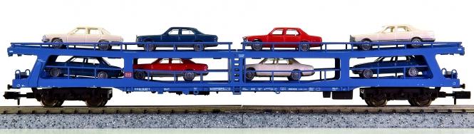 Fleischmann 8291 K – Doppelstock-Autotreisezugwagen der DB, mit 8 Pkw beladen