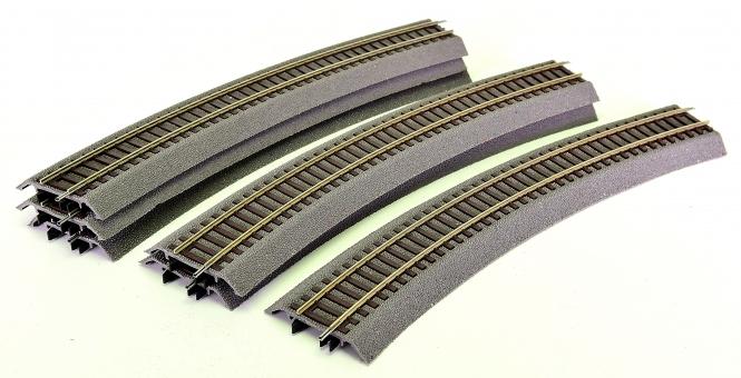 Roco 42523 – Roco-Line, 6 gebogene Gleise R3 mit Bettung, r = 419,6 mm, 30°
