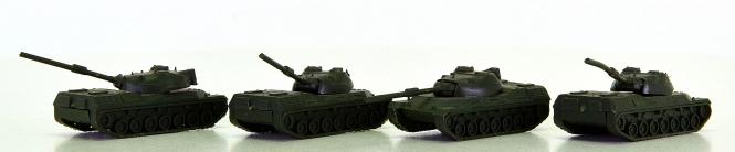 Roskopf Minitur Modelle (N) – 4er-Set Leopard 1 Panzer, ideal als Beladung